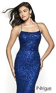Image of backless royal blue long sequin formal prom gown. Style: BL-IN-551 Detail Image 1