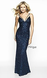 Image of backless sequin formal gown from iNtrigue by Blush. Style: BL-IN-553 Front Image