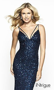 Image of backless sequin formal gown from iNtrigue by Blush. Style: BL-IN-553 Detail Image 1