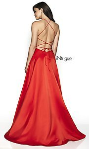 Image of long a-line satin open-back formal gown. Style: BL-IN-571 Back Image