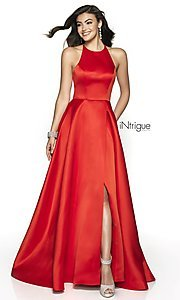 Image of long a-line satin open-back formal gown. Style: BL-IN-571 Detail Image 3