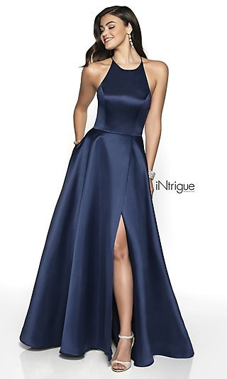 Long A-Line Satin Open-Back Formal Gown