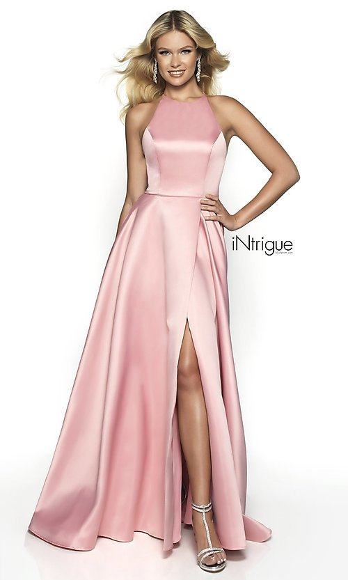 Image of long a-line satin open-back formal gown. Style: BL-IN-571 Detail Image 2
