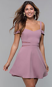 Image of cold-shoulder short party dress with sheer cut outs. Style: MCR-PL-2658 Detail Image 3