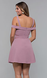 Image of cold-shoulder short party dress with sheer cut outs. Style: MCR-PL-2658 Detail Image 4