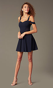 Image of cold-shoulder short party dress with sheer cut outs. Style: MCR-PL-2658 Detail Image 1