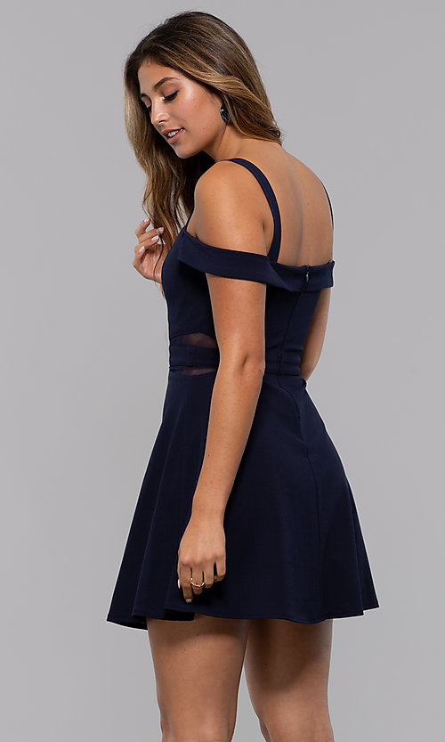 Image of cold-shoulder short party dress with sheer cut outs. Style: MCR-PL-2658 Back Image