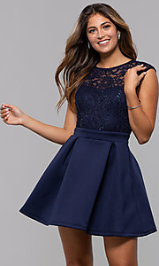 Image of short party dress with sequin-lace bodice. Style: MCR-PL-2651 Front Image