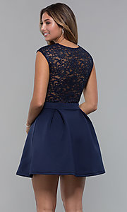 Image of short party dress with sequin-lace bodice. Style: MCR-PL-2651 Back Image