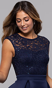 Image of short party dress with sequin-lace bodice. Style: MCR-PL-2651 Detail Image 1