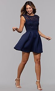 Image of short party dress with sequin-lace bodice. Style: MCR-PL-2651 Detail Image 3