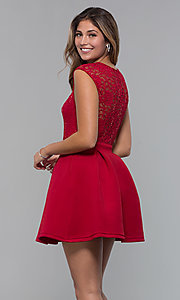 Image of short party dress with sequin-lace bodice. Style: MCR-PL-2651 Detail Image 5