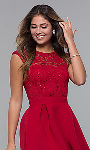 Image of short party dress with sequin-lace bodice. Style: MCR-PL-2651 Detail Image 6