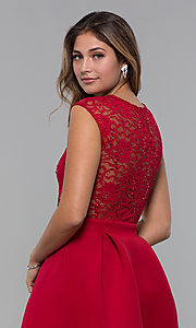 Image of short party dress with sequin-lace bodice. Style: MCR-PL-2651 Detail Image 7