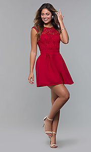 Image of short party dress with sequin-lace bodice. Style: MCR-PL-2651 Detail Image 8