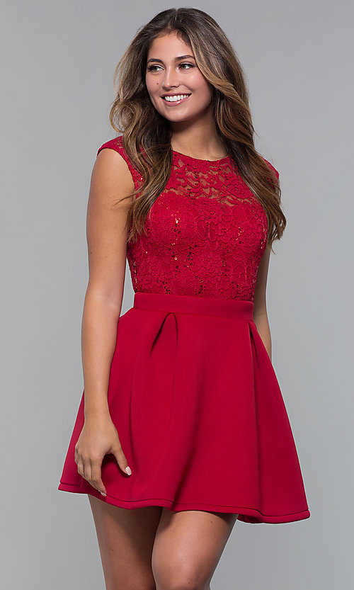 Image of short party dress with sequin-lace bodice. Style: MCR-PL-2651 Detail Image 4