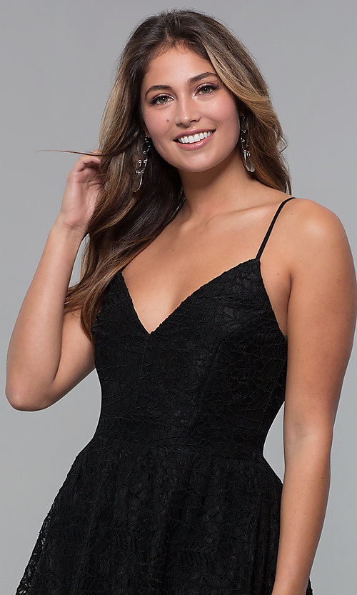 Image of high-low lace black wedding-guest party dress. Style: MCR-PL-2659 Detail Image 1
