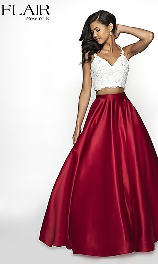 Long A-Line Two-Tone Sleeveless Formal Gown