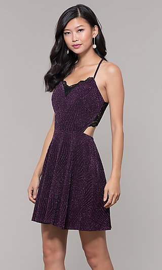 Plum Purple Short Glitter Wedding-Guest Party Dress
