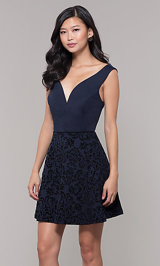 Black Velvet Print Short Navy Wedding Guest Dress