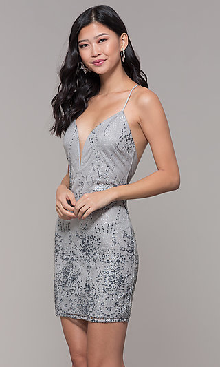 Deep V-Neck Holiday Party Short Glitter Mesh Dress