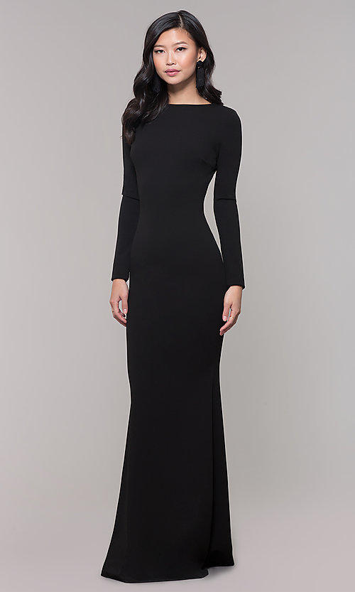 Image of open-back long black prom dress with long sleeves. Style: SY-IDM5260AP Back Image