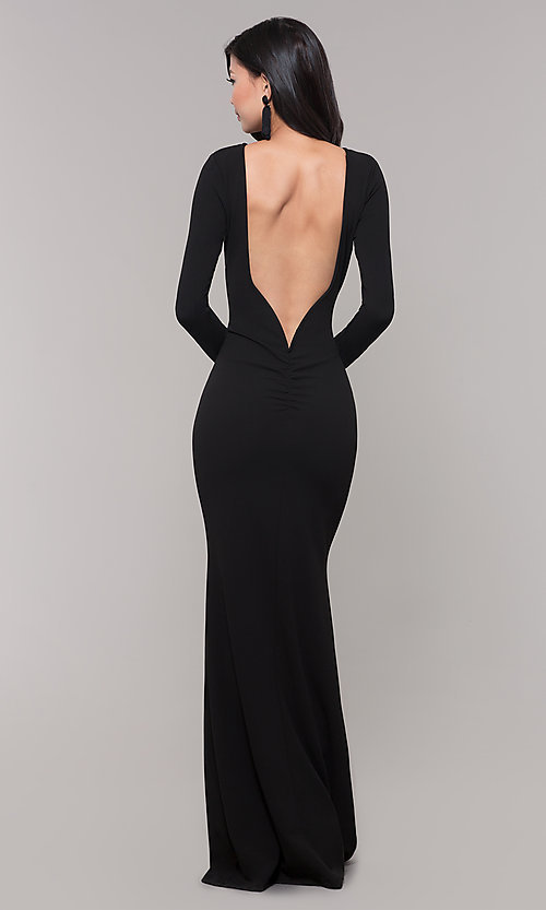 Image of open-back long black prom dress with long sleeves. Style: SY-IDM5260AP Front Image