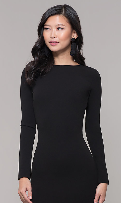 Image of open-back long black prom dress with long sleeves. Style: SY-IDM5260AP Detail Image 1