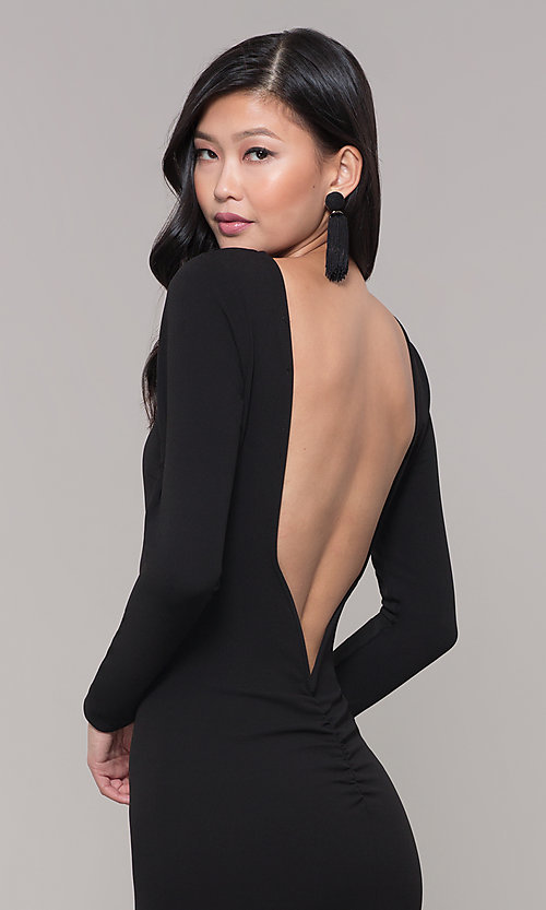 Image of open-back long black prom dress with long sleeves. Style: SY-IDM5260AP Detail Image 2