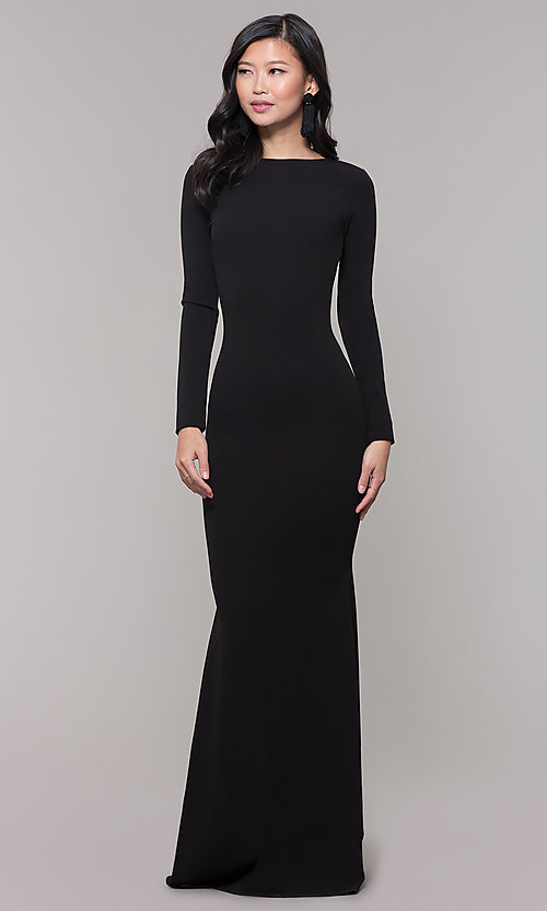 Image of open-back long black prom dress with long sleeves. Style: SY-IDM5260AP Detail Image 3