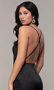 Image of open-back v-neck long faux-wrap formal dress. Style: SY-IDM6140AP Detail Image 7