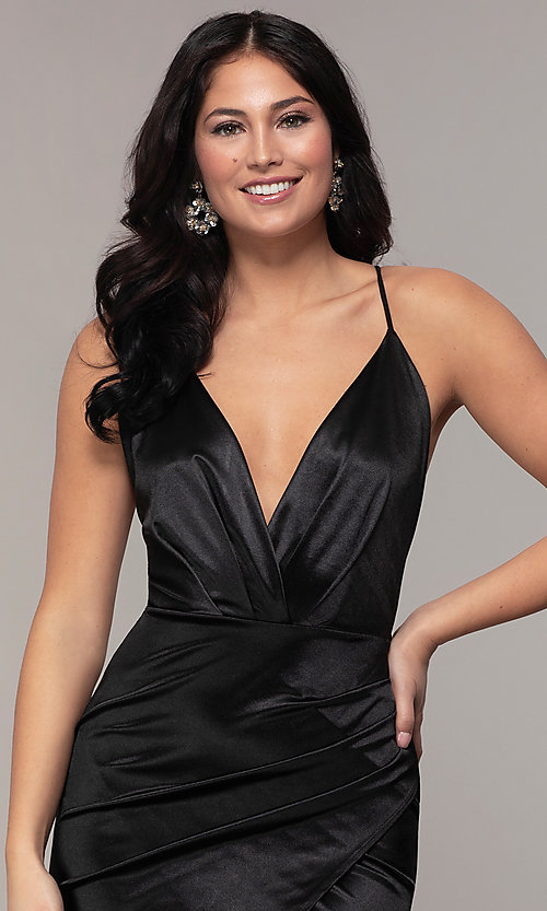 Image of open-back v-neck long faux-wrap formal dress. Style: SY-IDM6140AP Detail Image 6