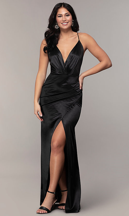 Image of open-back v-neck long faux-wrap formal dress. Style: SY-IDM6140AP Detail Image 8