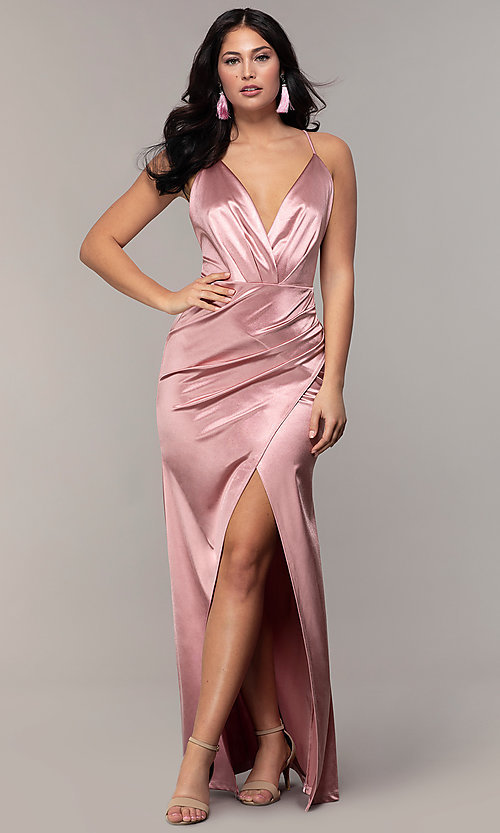 Image of open-back v-neck long faux-wrap formal dress. Style: SY-IDM6140AP Front Image