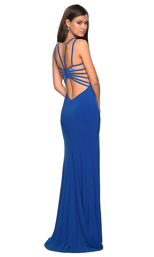 Image of La Femme v-neck formal gown with caged back. Style: LF-27072 Detail Image 4