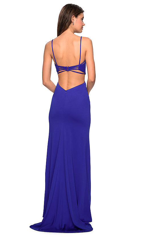 Image of open-back formal evening dress by La Femme. Style: LF-27516 Detail Image 1