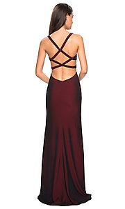 Image of La Femme open-back formal gown with side cut outs. Style: LF-27785 Back Image
