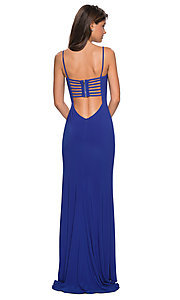Image of La Femme long formal prom dress with caged back. Style: LF-27469 Detail Image 3