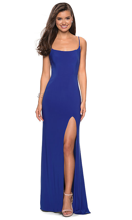 Image of La Femme long formal prom dress with caged back. Style: LF-27469 Detail Image 2