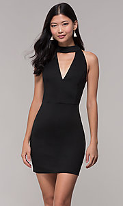 Image of lace-back short black party dress with choker. Style: AC-DH24319E Front Image