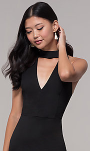 Image of lace-back short black party dress with choker. Style: AC-DH24319E Detail Image 1