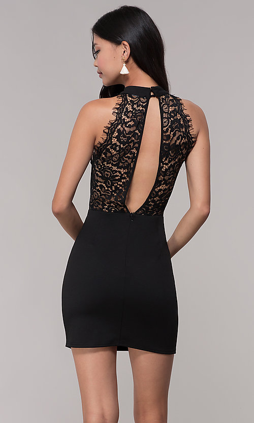 Image of lace-back short black party dress with choker. Style: AC-DH24319E Back Image