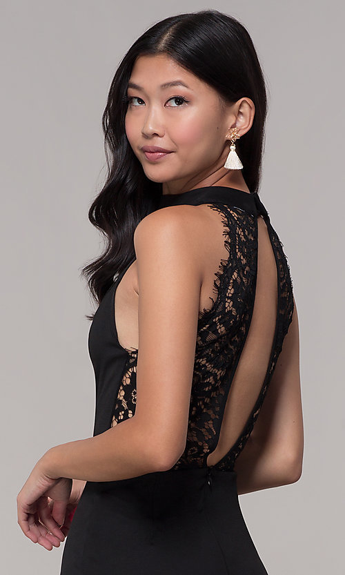 Image of lace-back short black party dress with choker. Style: AC-DH24319E Detail Image 2