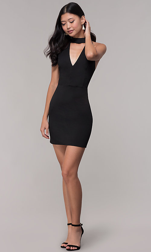 Image of lace-back short black party dress with choker. Style: AC-DH24319E Detail Image 3