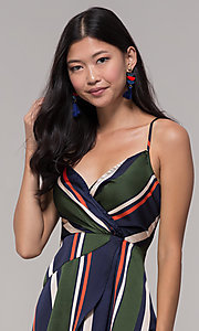 Image of navy and green faux-wrap short striped party dress. Style: AC-DH24571R01 Detail Image 1