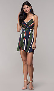 Image of navy and green faux-wrap short striped party dress. Style: AC-DH24571R01 Detail Image 3