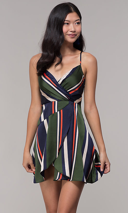 Image of navy and green faux-wrap short striped party dress. Style: AC-DH24571R01 Front Image