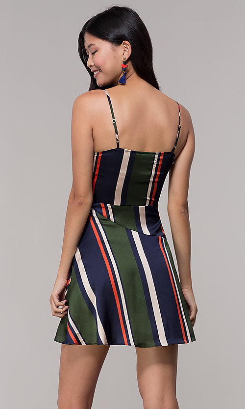 Image of navy and green faux-wrap short striped party dress. Style: AC-DH24571R01 Back Image