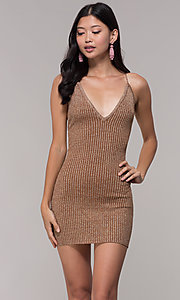 Image of deep-v-neck glitter rib-knit gold holiday dress. Style: AC-DS24615B Front Image