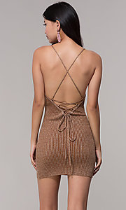 Image of deep-v-neck glitter rib-knit gold holiday dress. Style: AC-DS24615B Back Image